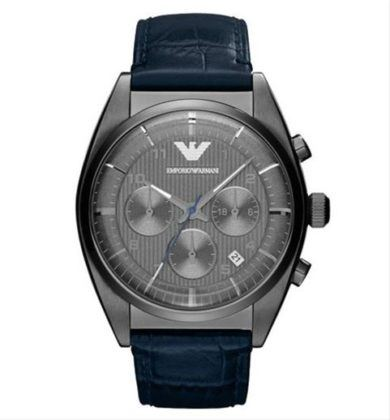 Emporio Armani Stainless Steel Blue Leather Strap AR1650