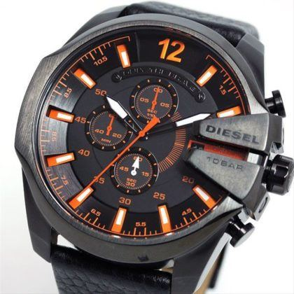 DIESEL Gunmetal Analog Black Leather Strap Chronograph Gents Watch DZ4291