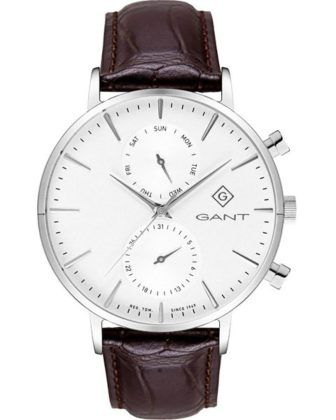 GANT Park Hill Day-Date II Stainless Steel Brown Leather Strap G121001