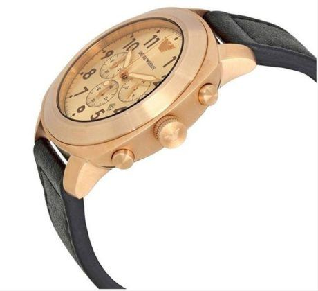 Emporio Armani Sportivo Chrono Rose Gold Brown Leather Strap AR6087