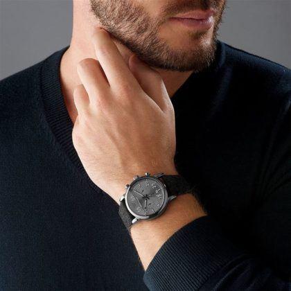 Emporio Armani Luigi Chronograph Black Stainless Steel, with Grey Fabric-Leather Strap AR11154