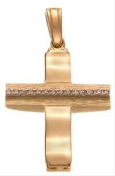 Βαπτιστικός σταυρός χρυσός 14 καρατίων με ζιργκόν Κ14.88570