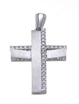 Βαπτιστικός σταυρός λευκόχρυσος 14 καρατίων με ζιργκόν Κ14.87463