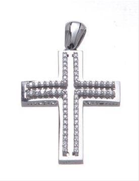 Βαπτιστικός σταυρός λευκόχρυσος 14 καρατίων με ζιργκόν Κ14.87460