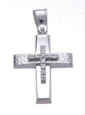 Βαπτιστικός σταυρός λευκόχρυσος 14 καρατίων με ζιργκόν Κ14.87465