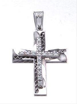 Βαπτιστικός σταυρός λευκόχρυσος 14 καρατίων με ζιργκόν Κ14.87458