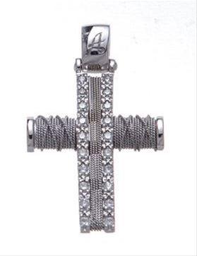 Βαπτιστικός σταυρός λευκόχρυσος 14 καρατίων με ζιργκόν Κ14.87462