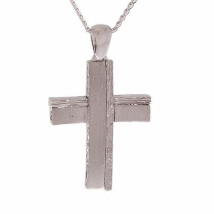 Βαπτιστικός σταυρός λευκόχρυσος 14 καρατίων Κ14.87429