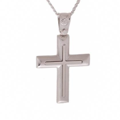 Βαπτιστικός σταυρός λευκόχρυσος 14 καρατίων Κ14.87431