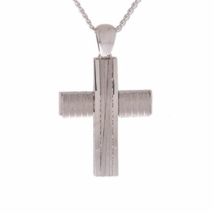 Βαπτιστικός σταυρός λευκόχρυσος 14 καρατίων Κ14.87432