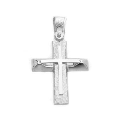 Βαπτιστικός σταυρός λευκόχρυσος 14 καρατίων Κ14.87446