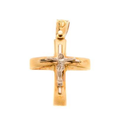 Βαπτιστικός σταυρός δίχρωμος χρυσός 14 καρατίων Κ14.88498