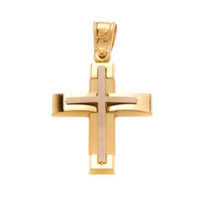 Βαπτιστικός σταυρός δίχρωμος χρυσός 14 καρατίων Κ14.88499