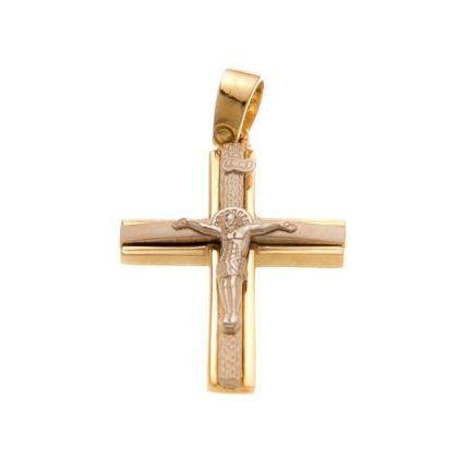Βαπτιστικός σταυρός δίχρωμος χρυσός 14 καρατίων Κ14.88508