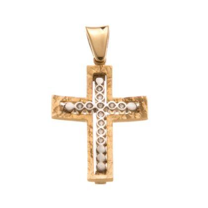 Βαπτιστικός σταυρός χρυσός 14 καρατίων με ζιργκόν Κ14.88509