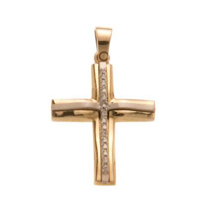Βαπτιστικός σταυρός χρυσός 14 καρατίων με ζιργκόν Κ14.88533