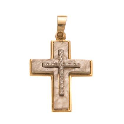 Βαπτιστικός σταυρός χρυσός 14 καρατίων με ζιργκόν Κ14.88534