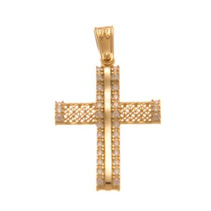 Βαπτιστικός σταυρός χρυσός 14 καρατίων με ζιργκόν Κ14.88535