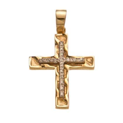 Βαπτιστικός σταυρός χρυσός 14 καρατίων με ζιργκόν Κ14.88513