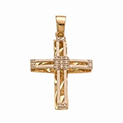 Βαπτιστικός σταυρός χρυσός 14 καρατίων με ζιργκόν Κ14.88514