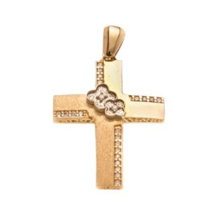Βαπτιστικός σταυρός χρυσός 14 καρατίων με ζιργκόν Κ14.88510