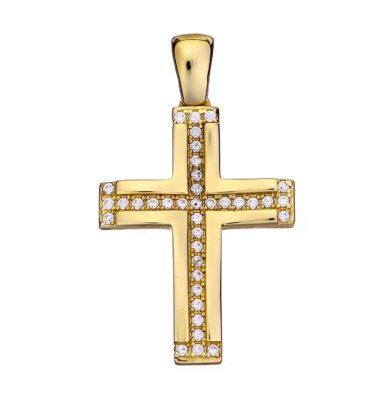 Βαπτιστικός σταυρός χρυσός 14 καρατίων με ζιργκόν Κ14.88563