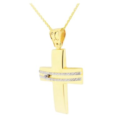 Βαπτιστικός σταυρός χρυσός 14 καρατίων με ζιργκόν Κ14.88575