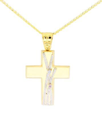 Βαπτιστικός σταυρός χρυσός 14 καρατίων με ζιργκόν Κ14.88576