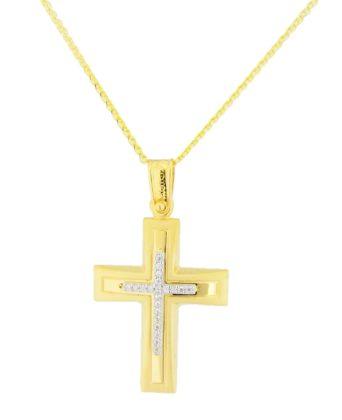 Βαπτιστικός σταυρός χρυσός 14 καρατίων με ζιργκόν Κ14.88578