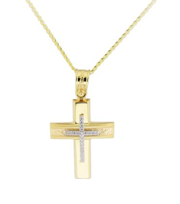 Βαπτιστικός σταυρός χρυσός 14 καρατίων με ζιργκόν Κ14.88582
