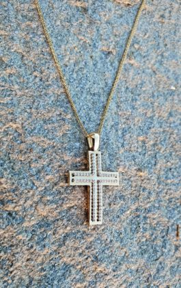 Βαπτιστικός σταυρός χρυσός 14 καρατίων με ζιργκόν Κ14.88602
