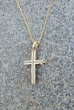 Βαπτιστικός σταυρός χρυσός 14 καρατίων με ζιργκόν Κ14.88643