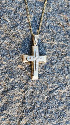 Βαπτιστικός σταυρός χρυσός 14 καρατίων με ζιργκόν Κ14.88650