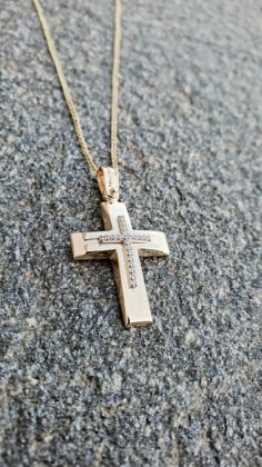 Βαπτιστικός σταυρός χρυσός 14 καρατίων με ζιργκόν Κ14.88651