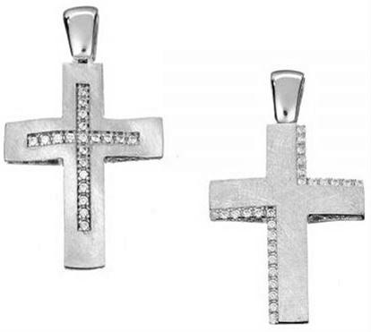 Βαπτιστικός σταυρός λευκόχρυσος 14 καρατίων με ζιργκόν Κ14.87495