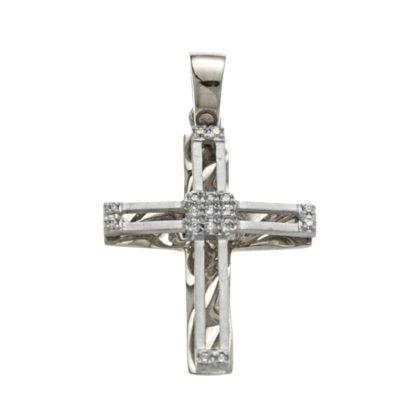 Βαπτιστικός σταυρός λευκόχρυσος 14 καρατίων με ζιργκόν Κ14.87506