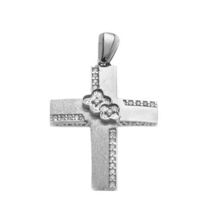 Βαπτιστικός σταυρός λευκόχρυσος 14 καρατίων με ζιργκόν Κ14.87509
