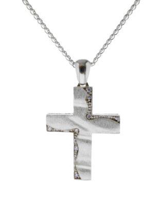 Βαπτιστικός σταυρός λευκόχρυσος 14 καρατίων με ζιργκόν Κ14.87520