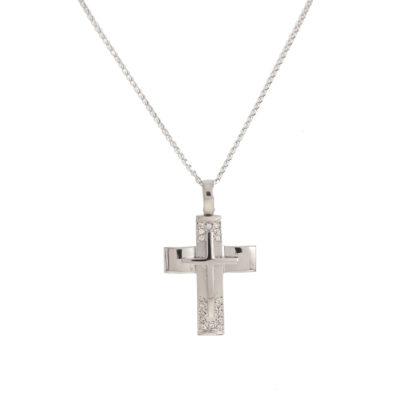 Βαπτιστικός σταυρός λευκόχρυσος 14 καρατίων με ζιργκόν Κ14.87627