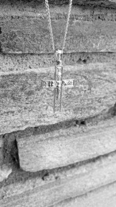 Βαπτιστικός σταυρός λευκόχρυσος 14 καρατίων με ζιργκόν Κ14.87629