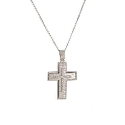 Βαπτιστικός σταυρός λευκόχρυσος 14 καρατίων με ζιργκόν Κ14.87640