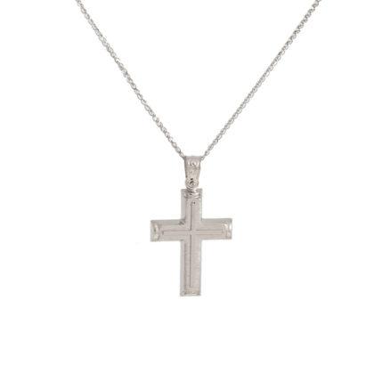 Βαπτιστικός σταυρός λευκόχρυσος 14 καρατίων Κ14.87643