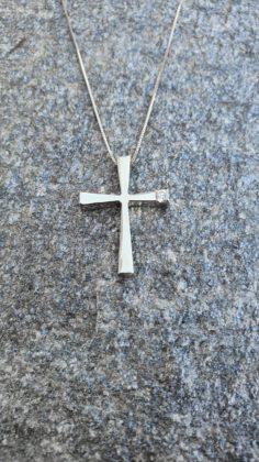 Βαπτιστικός σταυρός λευκόχρυσος 14 καρατίων με ζιργκόν Κ14.87675