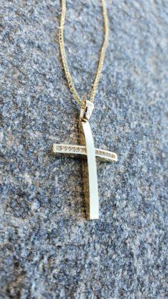 Βαπτιστικός σταυρός χρυσός 14 καρατίων με ζιργκόν Κ14.88715