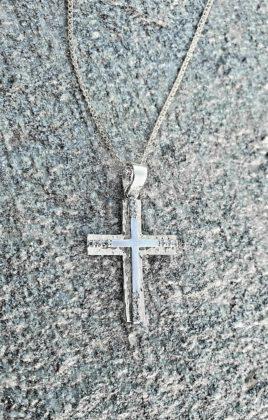 Βαπτιστικός σταυρός λευκόχρυσος 14 καρατίων με ζιργκόν Κ14.87517