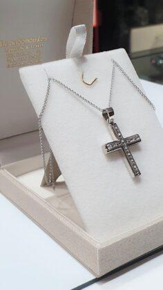 Βαπτιστικός σταυρός λευκόχρυσος 14 καρατίων με ζιργκόν Κ14.87671