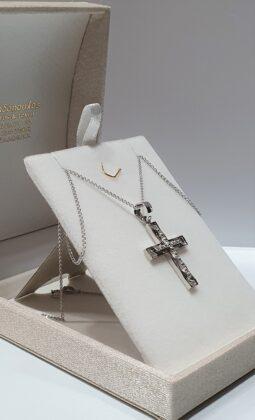 Βαπτιστικός σταυρός λευκόχρυσος 14 καρατίων με ζιργκόν Κ14.87507