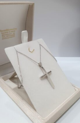 Βαπτιστικός σταυρός λευκόχρυσος 14 καρατίων με ζιργκόν Κ14.87696
