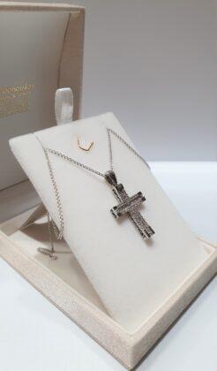 Βαπτιστικός σταυρός λευκόχρυσος 14 καρατίων με ζιργκόν Κ14.87698