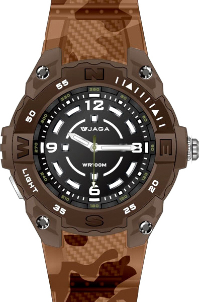 JAGA Brown Rubber Strap AQ1166 Καφέ